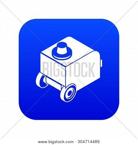 Welding Machine Icon Blue Vector Isolated On White Background