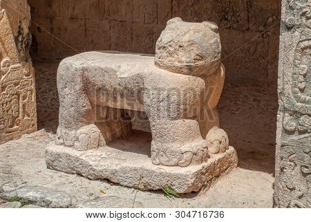 Sculpture Of A Quadruped Animal, In The Archaeological Area Of Chichen Itza, On The Yucatan Peninsul