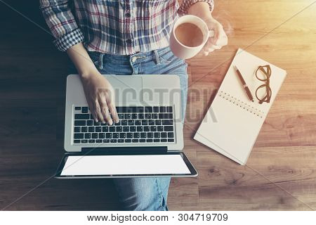 Woman Working With Notebook Laptop Computer, Using Finger With Keyboard For Typing. Computer Laptop