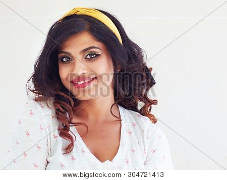 Portrait Of Beautiful Happy Young Indian Woman