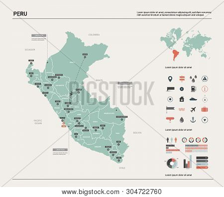 Vector Map Of Peru. Country Map With Division, Cities And Capital Lima. Political Map,  World Map, I
