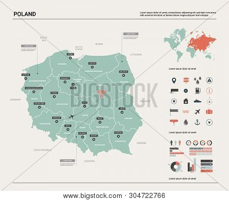 Vector Map Of Poland. Country Map With Division, Cities And Capital Warsaw. Political Map,  World Ma