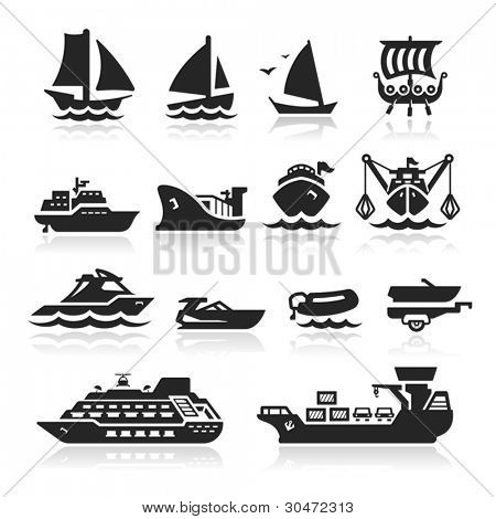 Boats and ships icons set