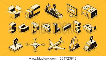 Transport Logistic, Supplier, Commercial Goods Export, Import. Air, Road, Maritime Freight, Business