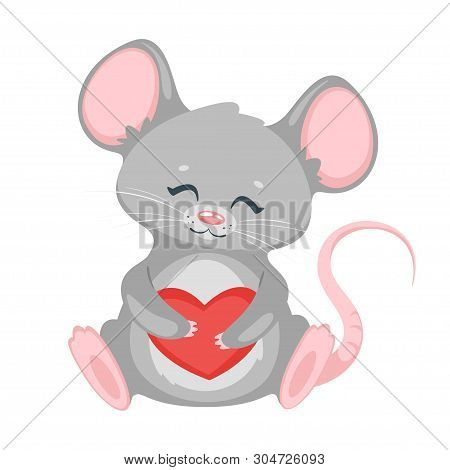 Cute Rat Holding Heart Cartoon Vector Character. Adorable Mouse Showing Love. Valentines Day Greetin