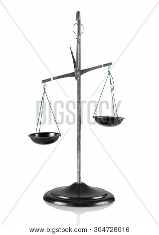 Chemical Laboratory Scales Isolated On White Background. Balance Scales