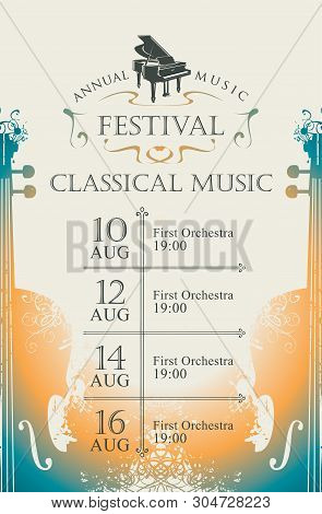 Vector Poster For The Annual Festival Of Classical Music With Violins And Grand Piano On A Light Bac