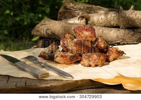 Picnic In The Village. Juicy Shashlik On A Rustic Table Outdoors