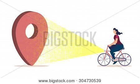 Bicycle Tourism, Journey Planning, City Navigation And Cartography Flat Vector Concept With Woman Ri