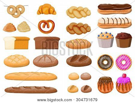 Bread Icons Set. Whole Grain, Wheat Rye Bread, Toast, Pretzel Ciabatta, Croissant, Bagel, French Bag
