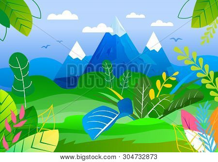 Panoramic View On Mountains Peaks And Green Valley. Beautiful Highland And Wild Nature. Forest Veget