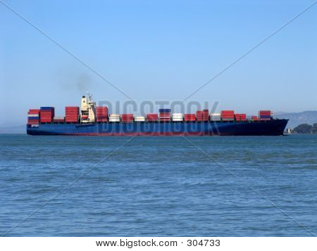Cargo Ship In San Francisco Bay