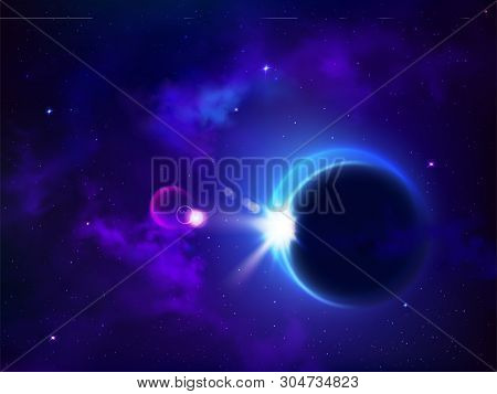 Total Eclipse Solar Or Lunar. Moon Cover Sun Mysterious Natural Phenomenon In Outer Space, Planetary