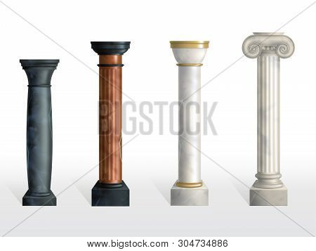 Antique Columns Set. Ancient Stone Or Marble Classic Ornate Pillars Of Different Colors And Textures
