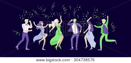 Group Of Smiling Young People Or Students In Evening Dresses And Tuxedos, Happy Jumping And Dansing.