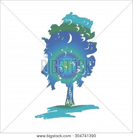Neon Illustration Of A Tree And Ohm In It.