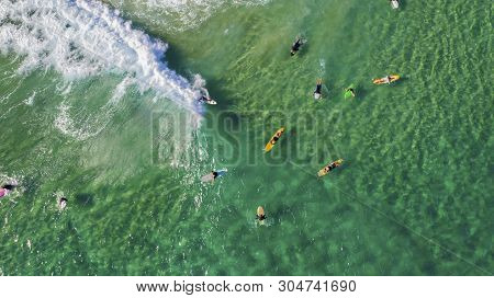 Aerial View Over The Turqoise Waters And Surfs At Byron Bay