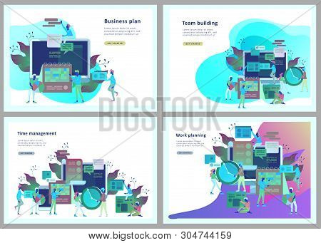 Landing Page Template Of Planning Timework Management People. Businnes Start Up Concept. Income And