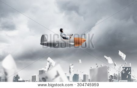 Crisis Management And Control In Difficult Situation Concept. Businessman In Aviator Hat Driving Pro