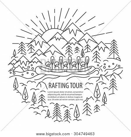 Rafting Banner In Linear Style. Rafting Tour Template With Pleace For Text. Vector Illustration