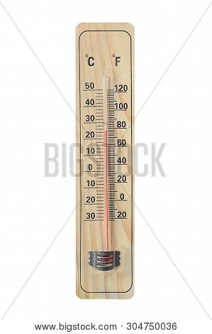 Image Of Wooden Thermometer Isolated On White Background