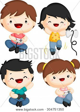 A Vector Of Four Kids Playing Video Games