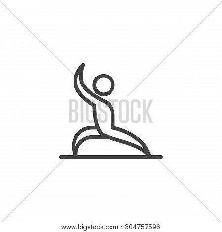 Man Yoga, Position Line Icon. Linear Style Sign For Mobile Concept And Web Design. Man Practice Exer
