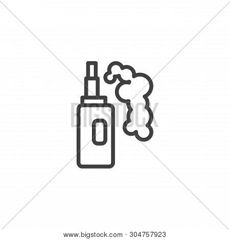 Vaporizer Electric Cigarette Line Icon. Linear Style Sign For Mobile Concept And Web Design. Vapor M