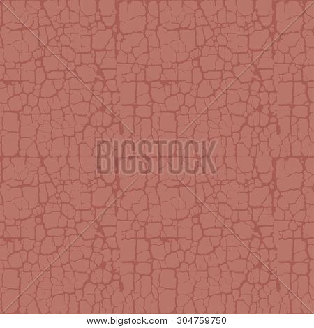 Terra-cotta Natural Abstract Soil Rack Seamless Pattern. Random Freehand Dry Soil Surface Repeatable