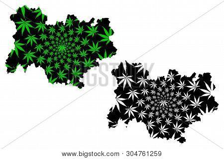Auvergne-rhone-alpes (france, Administrative Region) Map Is Designed Cannabis Leaf Green And Black,