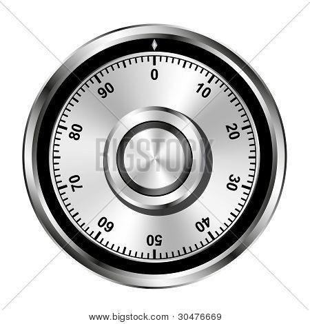 Realistic illustration of safe combination lock wheel