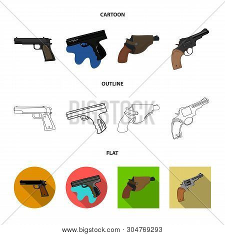 Isolated object of revolver and pistol sign. Collection of revolver and trigger vector icon for stock. poster