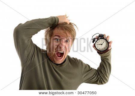 Man holding an alarm clock