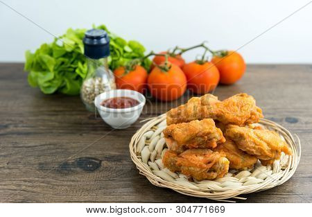 Crispy Kentucky Fried Chicken In A Wooden Table - Junk Food And Unhealthy Food.  Breaded Crispy Spic