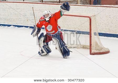 Goaltender Of Hockey Team Scherbinka
