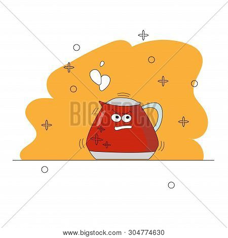 Cartoon Kitchen Appliances. Funny Character. Boiling Angry Red Kettle With Eyes. For Clothing Design