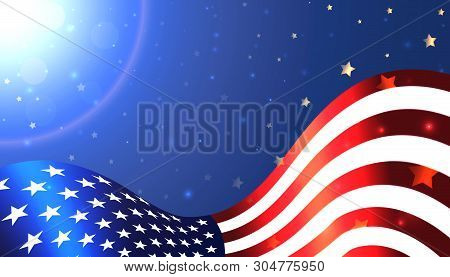 National Usa Flag On Background The Shining Sky With Stars. Usa National Holiday. Vector Background