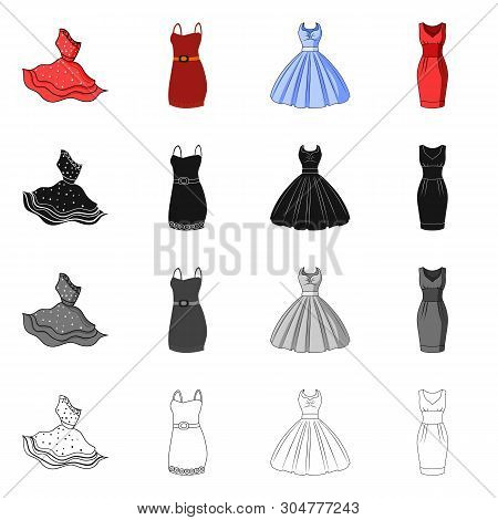 Vector Design Of Dress And Clothes Sign. Set Of Dress And Evening Stock Symbol For Web.