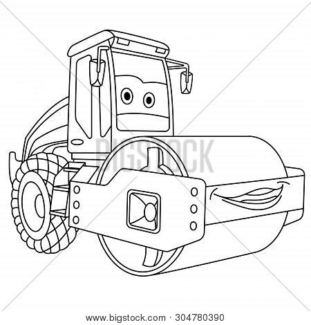 Coloring Page. Colouring Picture. Cute Cartoon Asphalt Paver. Road Roller Machine. Childish Design F