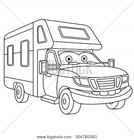 Coloring Page. Colouring Picture. Cute Cartoon House On Wheels. Rv (recreational Vehicle) Trailer. C