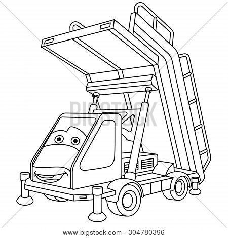 Coloring Page. Colouring Picture. Cute Cartoon Passengers Boarding Stairs Car. Aircraft Steps. Airpl
