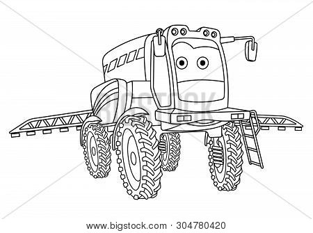 Coloring Page. Colouring Picture. Cute Cartoon Agricultural Sprayer. Crop Spraying Tractor. Childish