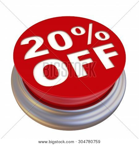 Discount Of Twenty Percentage. Red Circle Button Labeled 20% Off (twenty Percentage Discount) Isolat
