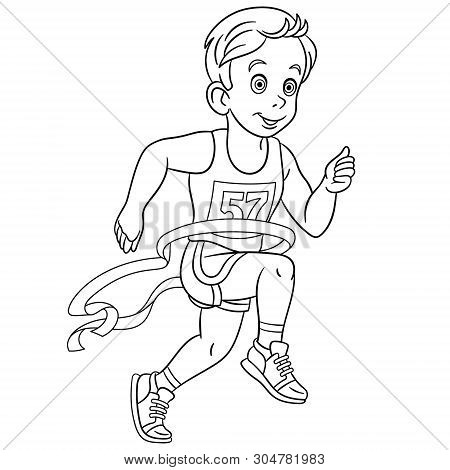 Colouring Page. Cute Cartoon Runner Who Wins Run Marathon At The Finish. Childish Design For Kids Co