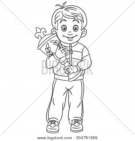Colouring Page. Cute Cartoon Winner In Sport Competitions. Boy Holding Award Trophy. Victory And Fir