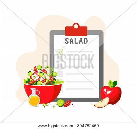 Green Salad For A Healthy Lifestyle. Clipboard With Checklist. Salad Recipe. Illustration For Greeti