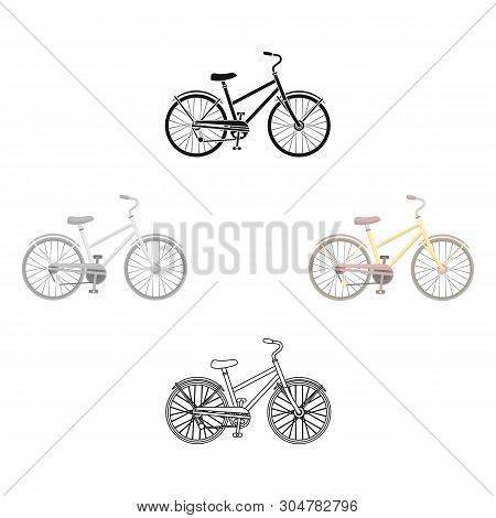 Rural Women S Bicycle. The Vehicle Of A Healthy Lifestyle.different Bicycle Single Icon In Cartoon,