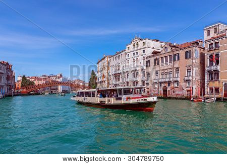 Venice, Italy - March 27, 2019: Beautiful View Of The Grand Canal In Venice With Accademia Bridge An