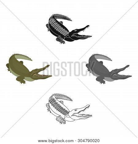 Crocodile, Dangerous Predator. Reptile, Nile Crocodile Single Icon In Cartoon, Black Style Vector Sy