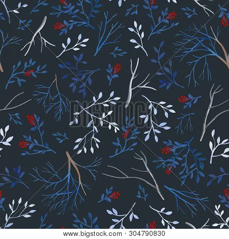 Gouahe Seamless Pattern With Red Berry, Branches And Leaves On Dark Background For Art Work And Wedd